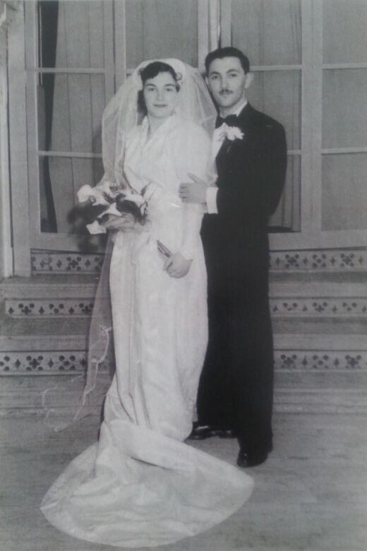 Wedding photo of Erika and Steve Erdos, 1951.
