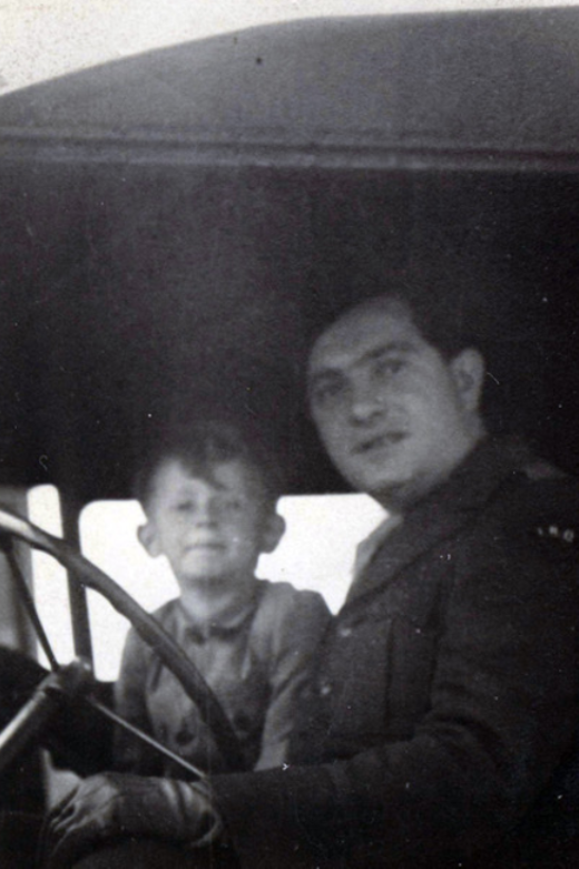 Joe and Uncle Dave in the jeep. Eggenfelden, late 1940s.