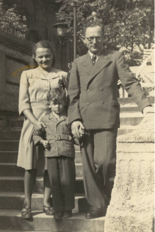 Joe and his parents in Germany after the war.